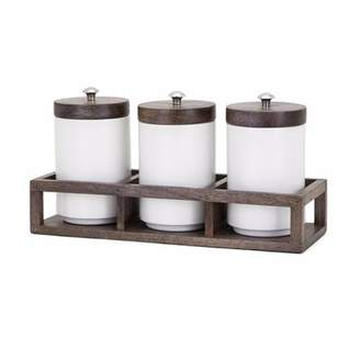 Gracie Oaks Wood Caddy 4 Piece Kitchen Canister Set