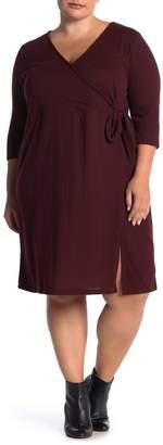 Sanctuary 3/4 Sleeve Knit Faux Wrap Dress (Plus Size)