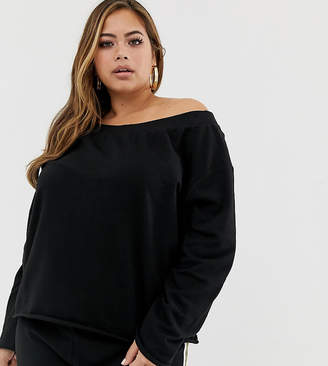 Asos DESIGN Curve off shoulder sweatshirt with raw edges in black