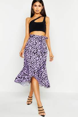 boohoo Leopard Print Wrap Ruffle Midi Skirt