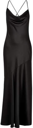 Halston Draped Satin Gown - Black
