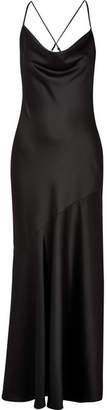 Draped Satin Gown - Black