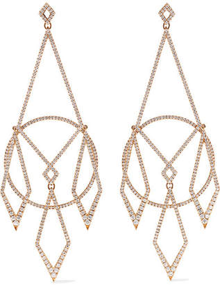 Diane Kordas 18-karat Rose Gold Diamond Earrings