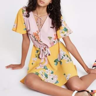 River Island Pink floral V neck tie waist midi dress