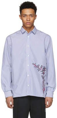 D by D Blue and White Striped Embroidered Shirt