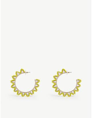 BaubleBar Mariza beaded gold-plated hoop earrings