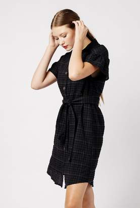 Azalea Plaid Button Ruffle Sleeve Dress