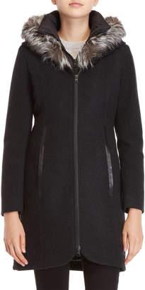 Soia & Kyo Charlene Real Fur Trim Wool-Blend Coat