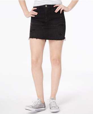 Vanilla Star Juniors' Ripped Denim Mini Skirt