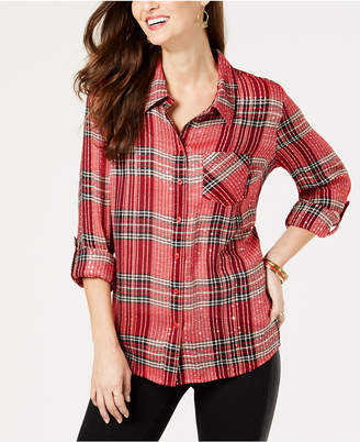 Style&Co. Style & Co Embellished Plaid Shirt, Created for Macy's