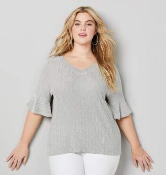 Avenue Plus Size Textured Knit Bell Sleeve Top