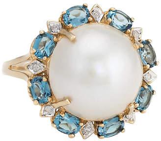 One Kings Lane Vintage Mabe Pearl - Blue Topaz & Diamond Ring - Precious & Rare Pieces