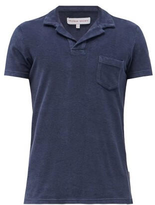 Orlebar Brown - Terry Towelling Cotton Polo Shirt - Mens - Navy