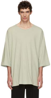 Issey Miyake Homme Plisse Green Raw Crewneck T-Shirt