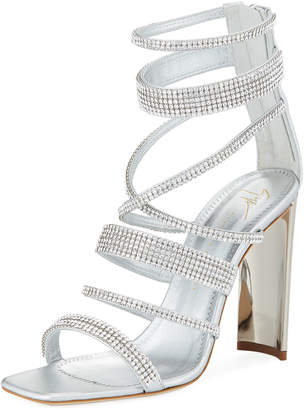 Giuseppe Zanotti Crystal-Caged Metallic Leather Sandal