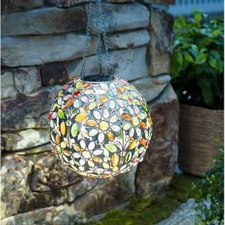 Plow & Hearth Hanging Solar Butterfly Jewel Ball Gazing Globe