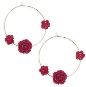 Ettika Rose Thin Wire Hoop Earrings