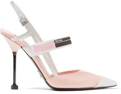 Prada - Logo-print Glossed-leather Slingback Pumps - Baby pink