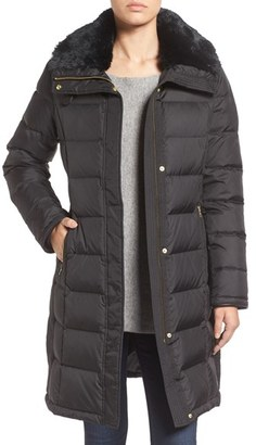 Women's Cole Haan Water Repellent Down & Feather Coat With Faux Fur Collar $460 thestylecure.com