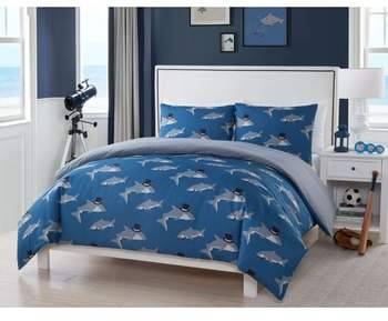 LALA + BASH Chomp Shark Comforter & Sham Set