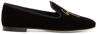 Giuseppe Zanotti Black Velvet Delila Loafers $795 thestylecure.com