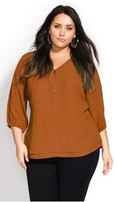 City Chic Citychic Sexy Fling Elbow Sleeve Top - amber
