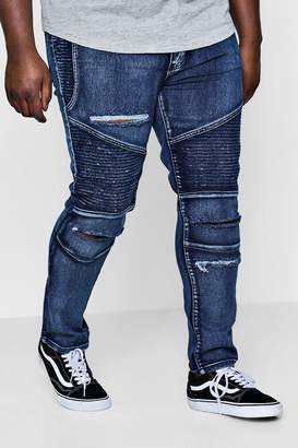 boohoo Big And Tall Skinny Fit Ripped Biker Jeans
