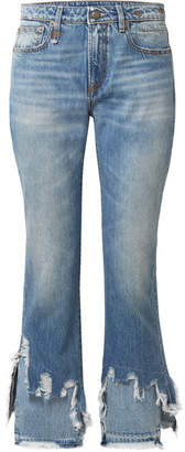 R 13 Cropped Distressed Mid-rise Flared Jeans - Mid denim