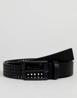 Asos Slim Belt In Black Faux Leather With Perforated Holes