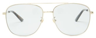 Gucci Tortoiseshell Acetate Aviator Sunglasses - Mens - Gold