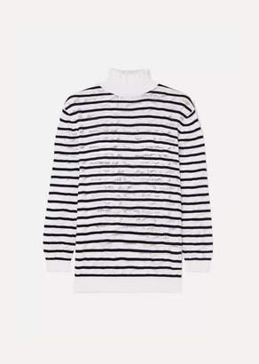 Chloé Striped Cotton-blend Lace Turtleneck Sweater - Navy