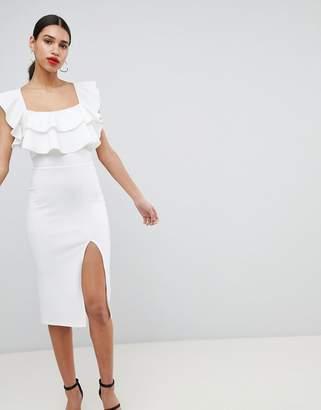 Asos DESIGN Square Neck Ruffle Front Midi Dress