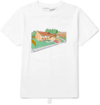 Off-White Off White Simpsons House Slim-Fit Printed Cotton-Jersey T-Shirt - Men - White