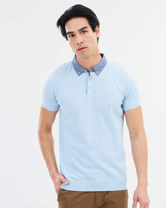 Woven Collar Knitted Polo SS Shirt
