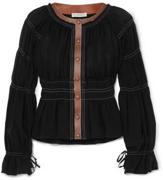 Altuzarra Goncourt Leather-trimmed Ruched Linen And Cotton-blend Canvas And Silk-gauze Blouse - Black