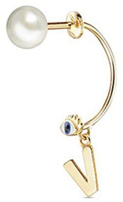 Delfina Delettrez 'ABC Micro Eye Piercing' freshwater pearl 18k yellow gold single earring - V