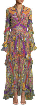 Etro Ruffled Deco-Geometry Print Chiffon Maxi Dress