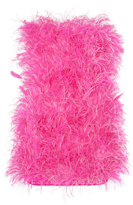 ATTICO Strapless Bead And Feather-embellished Cotton Mini Dress - Pink