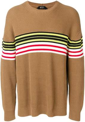 No.21 striped rib knit sweater