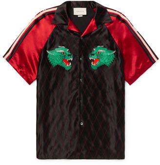 Gucci Camp-Collar Webbing-Trimmed Appliqued Satin Shirt - Men - Black