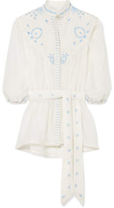 Talitha - Beaded Embroidered Cotton And Silk-blend Top - Ivory