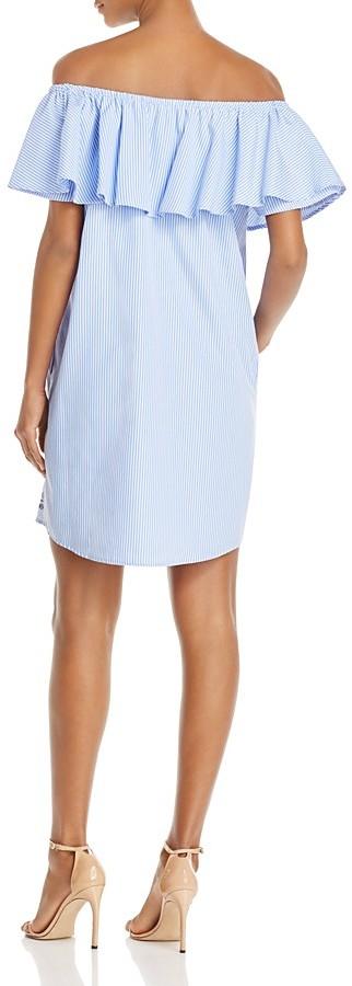 AQUA Embroidered Off-the-Shoulder Poplin Dress - 100% Exclusive 2