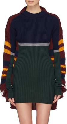 Y/Project Layered stripe mix knit sweater