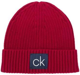 Calvin Klein ribbed logo beanie