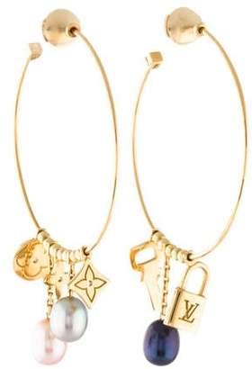 8d95499339d Louis Vuitton 18K Pearl Monogram Hoop Earrings