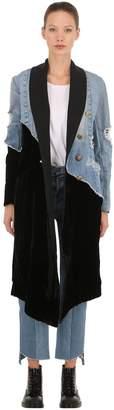 Greg Lauren 50/50 Velvet & Vintage Denim Coat