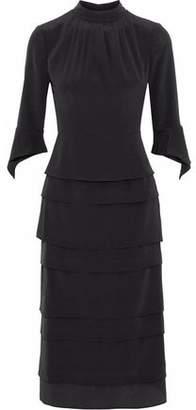Iris & Ink Elisabeth Tiered Silk Crepe De Chine Dress
