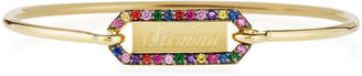 Prive Jemma Wynne Personalized Rectangle Bangle with Multicolor Stones in 18K Gold