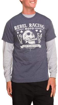 Pop Culture Big Men's Fashion Rebel Racing Two Piece 2Fer Combo Graphic T-shirt, 2XL