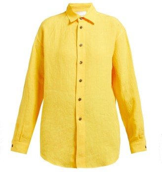 Marios Schwab On The Island By Ransvik Oversized Linen Shirt - Womens - Yellow